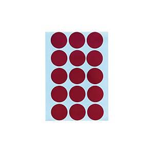 สติกเกอร์วงกลม ขนาดเส้นผ่านศูนย์กลาง 20มม สีแดง 90 ดวง