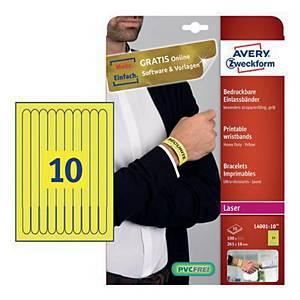 Opaski identyfikacyjne na nadgarstek Avery Zweckform 100szt. 265 x 18 mm, żółte*