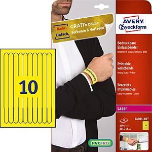 Pack 48 pulseiras de identificação imprimíveis - 265 x 25 mm - amarelo fluor