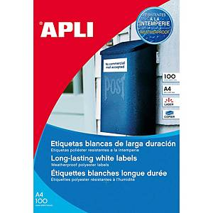Caixa 100 etiquetas de poliéster Apli 12121 - 210x297 mm - branco