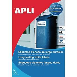 Caja de 100 etiquetas de poliéster Apli 12121 - 210 x 297 mm - blanco