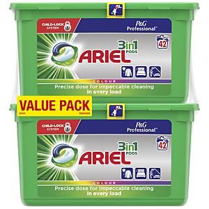 Lessive Ariel 3-in-1 Pods Colour & Style, 42 dosettes par paquet, 2 paquets