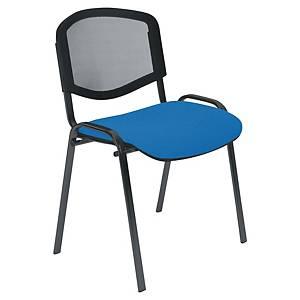 Chaise visiteur Welcome - empilable - résille et tissu - bleue