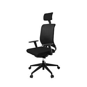 Cadeira com apoio de cabeça e mecanismo sincronizado Lyreco RS15C - preto