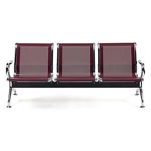 Bancada metálica   brazos LYRECO 2 asientos color rojo Dim: 1220x800x750 mm