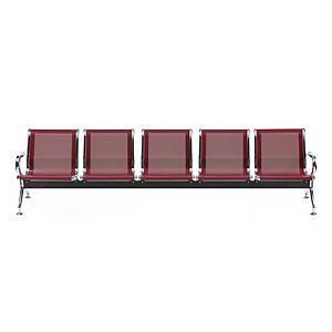 Bancada metálica   brazos LYRECO 5 asientos color rojo Dim: 2960x800x750 mm
