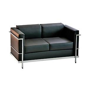 Sillon sala de espera LYRECO Serie 5000 2 asientos negro Dim: 1280x750x700 mm