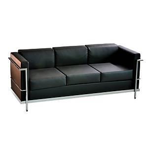 Sillon sala de espera LYRECO Serie 5000 3 asientos negro Dim: 1750x750x700 mm