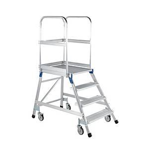Escadote de plataforma com rodas Zarges - 4 degraus - alumínio