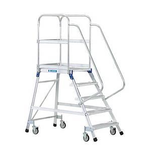 Escalera profesional ZARGES con plataforma extragrande con barandilla 5 peldaños