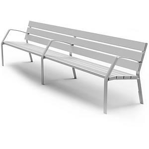 Banco urbano 7 listones de aluminio color PLATA MATE  650x780x3000