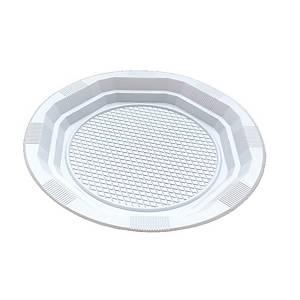 Pack de 25 platos - plástico - llanos redondos - 220 mm -blanco