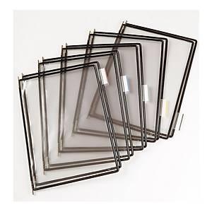 t-display Industrial Tarifold Drehzapfentafeln A3, schwarz, Packung mit 10 Stück