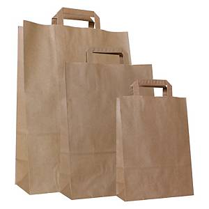 Paper bag 100g recycled kraft - 260 x 120 x 370mm - Brown - Pack of 250 pieces