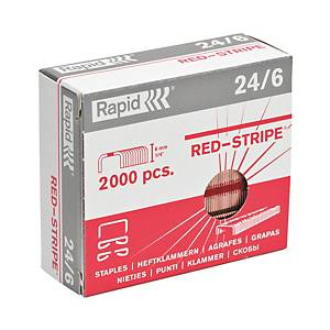 Agrafes Rapid Strong 24/6 Red Stripe, cuivrées, 30 feuilles, les 2.000 agrafes