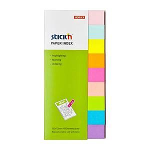 Samolepicí papírové značkovací záložky STICK'N by Hopax, 50 x 12 mm, 450 lístků
