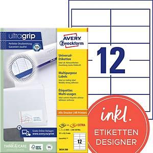 Étiquettes Avery Zweckform ultragrip 3659, 97x42,3 mm, blanc, paq. 2640unités