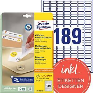 Etiketten Avery Zweckform L4731REV, 25,4x10 mm, ablösbar, weiss, Pk. à 5670 Stk.