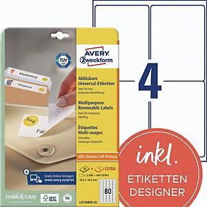 Etiketten ablösbar Avery Zweckform L4732REV-25, 35,6x16,9mm (LxB), weiß, 2400 St