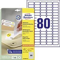 Opakovane použiteľné etikety Avery, L4732REV-25, 35,6 x 16,9 mm, biele