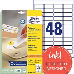 Etiketten Avery Zweckform L4736REV, 45,7x21,2 mm, ablösbar, weiss, Pk. à 1440Stk