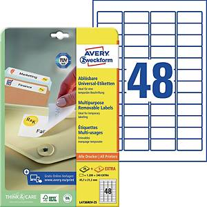 Etiketten ablösbar Avery Zweckform L4736REV-25, 45,7x21,2mm (LxB), weiß, 1440 St