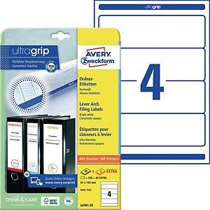 Ordner-Etiketten Avery Zweckform L4761, kurz / breit, weiß, 30 Blatt/120 Stück