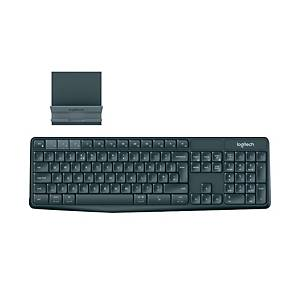 LOGITECH K375S MULTI-DEVICE BLACK WIRELESS KEYBOARD AND STAND COMBO