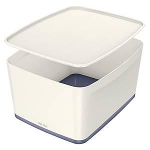 Leitz MyBox säilytyslaatikko kannellinen L valkoinen/metalliharmaa