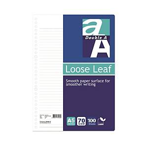 Double A A5 Loose Leaf Paper - Pack of 100 Sheets