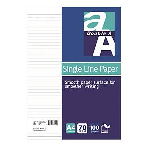 Double A A4 Single Line Paper - Pack of 100 Sheets