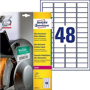 Ultra-Resistente Etiketten Avery Zweckform L7911,  45.7 x 21.2 mm, weiss