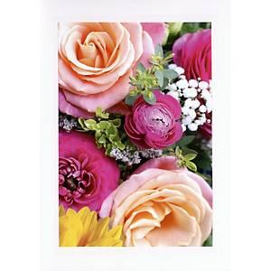 Carte double ABC, 148x210 mm, fleurs, blanc
