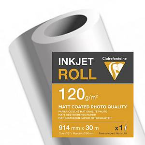 Clairefontaine Matt Coated Inkjet Paper Plotter Roll 120gsm 30M X 914mm - 1 Roll