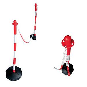 Poste de PVC para cadena - 90 cm - rojo/blanco