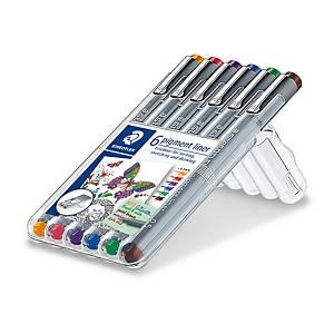 Staedtler Pigment Liner 308 kuitukärkikynä 0,5mm värilajitelma, 1 kpl=6 kynää