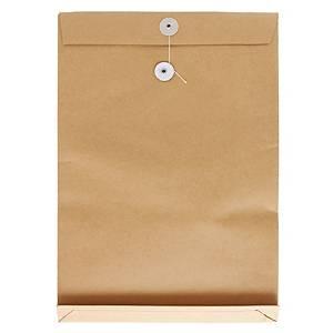 啡色風琴式有繩公文袋 14 吋 x 18 吋 x 2吋