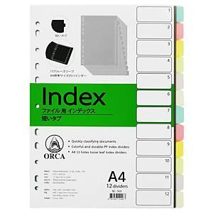 ORCA อินเด็กซ์พลาสติก 180 ไมครอน A4 12 หยัก6สี