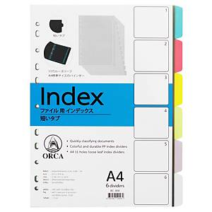 ORCA อินเด็กซ์พลาสติก 180 ไมครอน A4 6 หยัก6สี