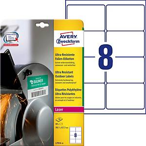 Étiquettes ultra-résistantes Avery Zweckform L7914, 99,1 x 67,7 mm, blanc