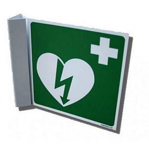 Winkelschild für Defibrillator, 17.8x20.3 cm, grün