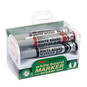 Whiteboardpenna Pentel Maxiflo, sned spets, utvalda färger