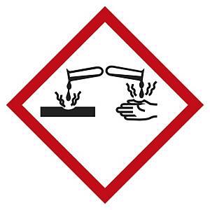 Etichetta segnaletica materiali corrosivi 100 x 100 mm - conf. 5