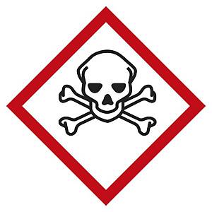 Etichetta segnaletica tossicità acuta categorie 1-2-3 - 57 x 57 mm - conf. 6