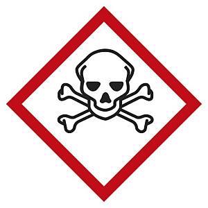 Etichetta segnaletica tossicità acuta categorie 1-2-3 - 20 x 20 mm - conf. 48