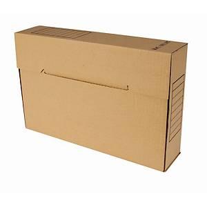 Boîte d'archive format folio, dos 8 cm, carton ondulé 850 g, brune, la boîte