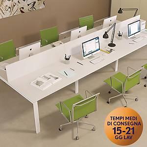 Pannello divisorio per scrivanie multiple TDM linea Open L 160 x H 44 cm bianco