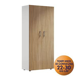 Armadio alto 2 ante MecoOffice linea Wood H 206 cm noce / bianco