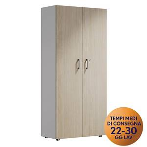 Armadio alto 2 ante MecoOffice linea Wood H 206 cm rovere / argento