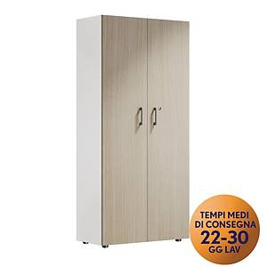 Armadio alto 2 ante MecoOffice linea Wood H 206 cm rovere / bianco